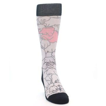 Image of Grey Pink Elephants Men's Casual Socks (side-1-front-03)