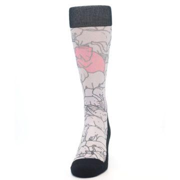 Image of Grey Pink Elephants Men's Casual Socks (front-05)