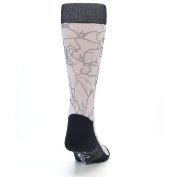Image of Grey Pink Elephants Men's Casual Socks (back-19)