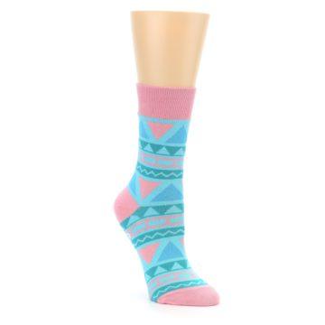Image of Pink Blue Green Aztek Women's Dress Socks (side-1-front-01)