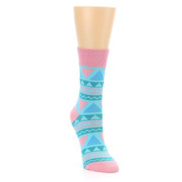 Image of Pink Blue Green Aztek Women's Dress Socks (side-1-front-02)