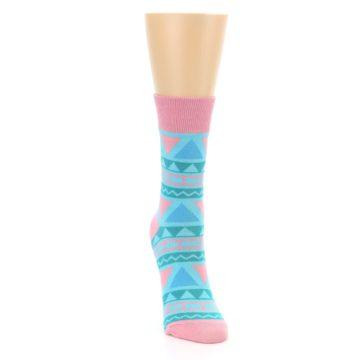 Image of Pink Blue Green Aztek Women's Dress Socks (side-1-front-03)