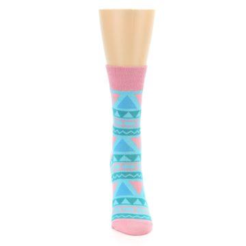 Image of Pink Blue Green Aztek Women's Dress Socks (front-04)