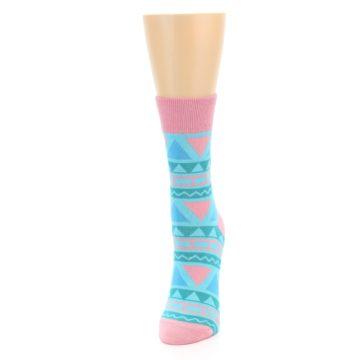 Image of Pink Blue Green Aztek Women's Dress Socks (side-2-front-06)