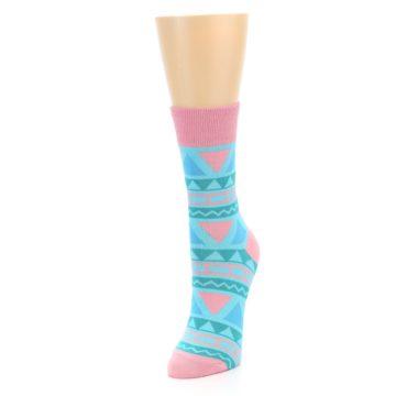 Image of Pink Blue Green Aztek Women's Dress Socks (side-2-front-07)