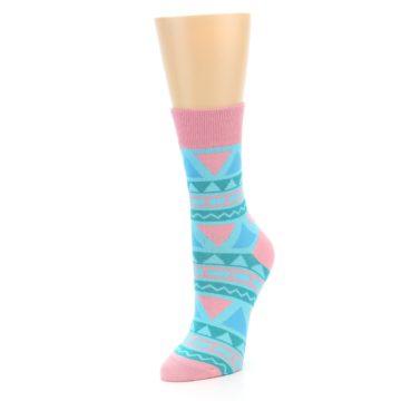 Image of Pink Blue Green Aztek Women's Dress Socks (side-2-front-08)