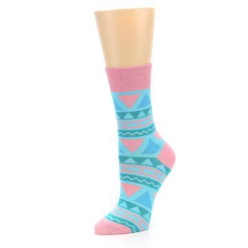 Image of Pink Blue Green Aztek Women's Dress Socks (side-2-09)