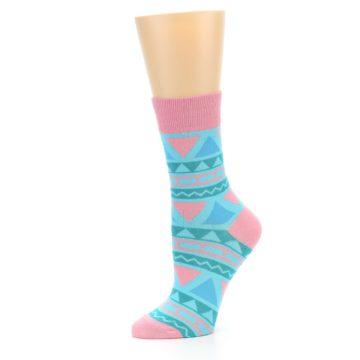 Image of Pink Blue Green Aztek Women's Dress Socks (side-2-10)