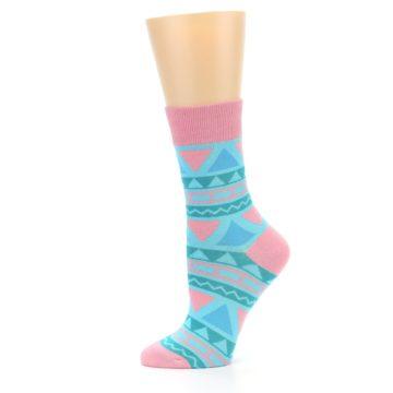 Image of Pink Blue Green Aztek Women's Dress Socks (side-2-11)