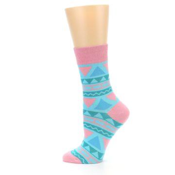 Image of Pink Blue Green Aztek Women's Dress Socks (side-2-12)