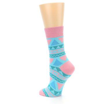 Image of Pink Blue Green Aztek Women's Dress Socks (side-2-back-14)