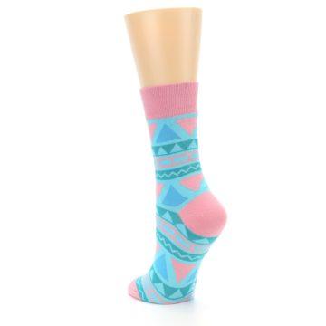 Image of Pink Blue Green Aztek Women's Dress Socks (side-2-back-15)