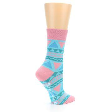 Image of Pink Blue Green Aztek Women's Dress Socks (side-1-23)