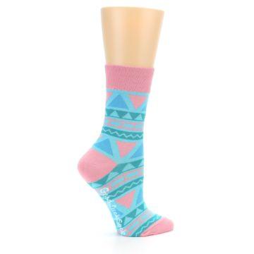 Image of Pink Blue Green Aztek Women's Dress Socks (side-1-24)