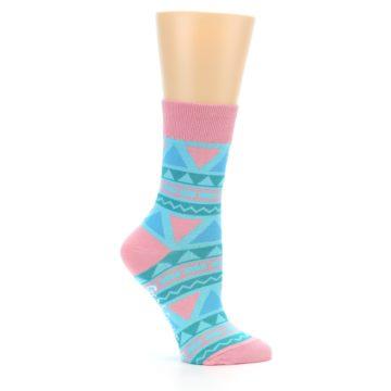 Image of Pink Blue Green Aztek Women's Dress Socks (side-1-25)