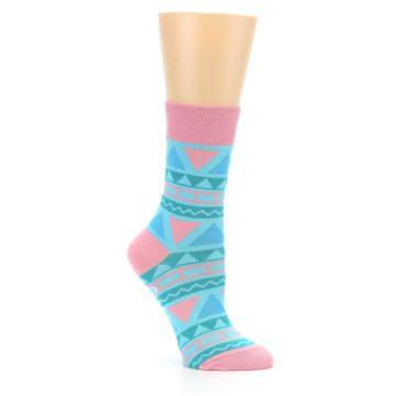 Image of Pink Blue Green Aztek Women's Dress Socks (side-1-26)