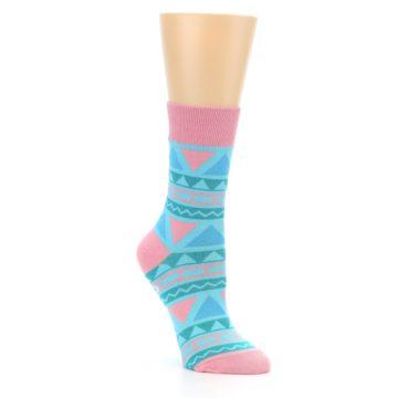 Image of Pink Blue Green Aztek Women's Dress Socks (side-1-27)