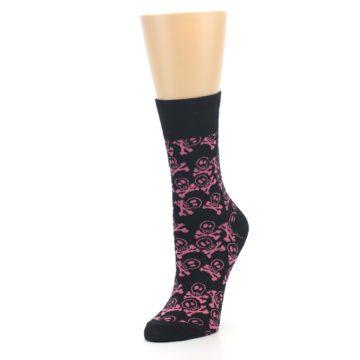 Image of Black Pink Skull & Crossbones Women's Dress Socks (side-2-front-08)