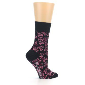 Image of Black Pink Skull & Crossbones Women's Dress Socks (side-1-24)
