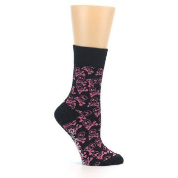 Image of Black Pink Skull & Crossbones Women's Dress Socks (side-1-25)