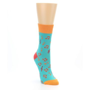 Image of Green Orange Red Music Notes Women's Dress Socks (side-1-front-02)
