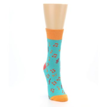 Image of Green Orange Red Music Notes Women's Dress Socks (side-1-front-03)