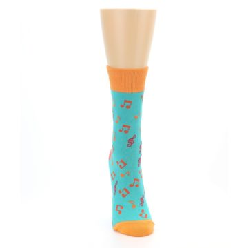 Image of Green Orange Red Music Notes Women's Dress Socks (front-04)