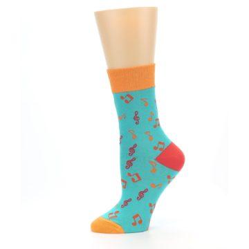 Image of Green Orange Red Music Notes Women's Dress Socks (side-2-11)