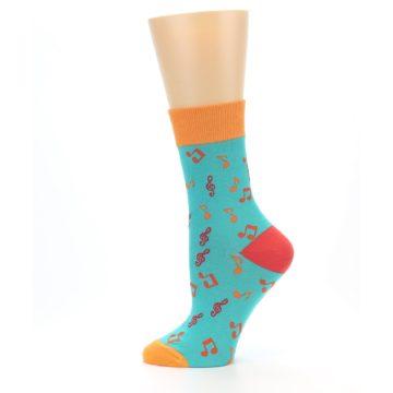 Image of Green Orange Red Music Notes Women's Dress Socks (side-2-12)