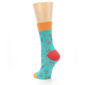 Image of Green Orange Red Music Notes Women's Dress Socks (side-2-back-15)