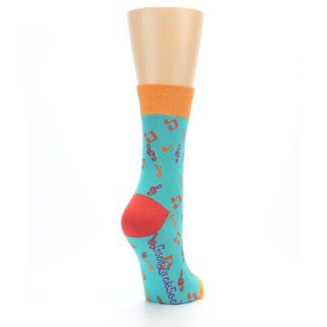 Image of Green Orange Red Music Notes Women's Dress Socks (side-1-back-21)