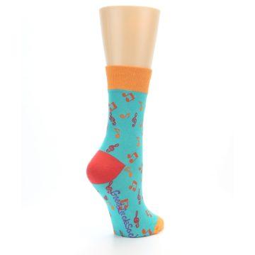 Image of Green Orange Red Music Notes Women's Dress Socks (side-1-back-22)