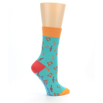 Image of Green Orange Red Music Notes Women's Dress Socks (side-1-24)