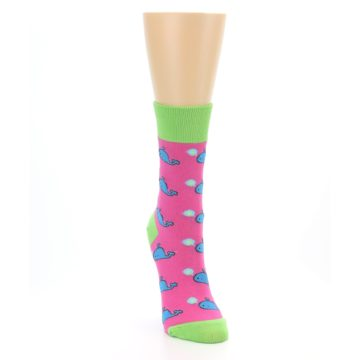 Image of Pink Blue Whales Women's Dress Socks (side-1-front-03)