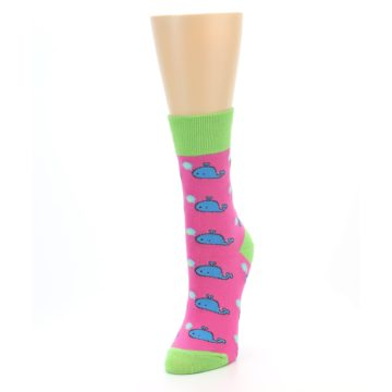 Image of Pink Blue Whales Women's Dress Socks (side-2-front-07)