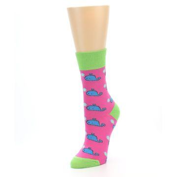 Image of Pink Blue Whales Women's Dress Socks (side-2-front-08)