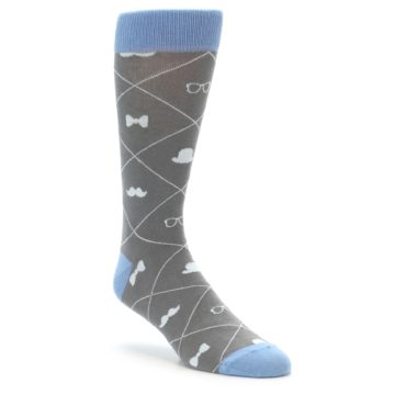 Image of Grey Blue Hipster Pattern Men's Dress Socks (side-1-front-01)