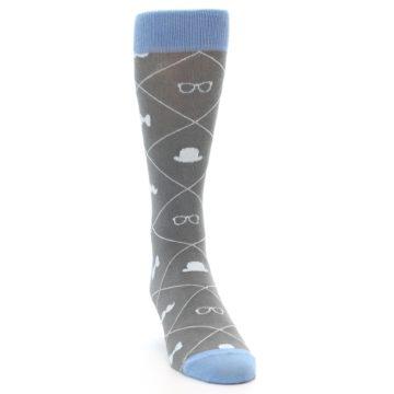 Image of Grey Blue Hipster Pattern Men's Dress Socks (side-1-front-03)