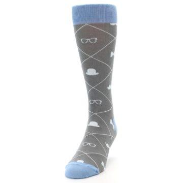 Image of Grey Blue Hipster Pattern Men's Dress Socks (side-2-front-06)