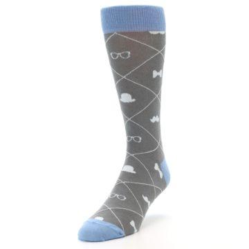 Image of Grey Blue Hipster Pattern Men's Dress Socks (side-2-front-07)