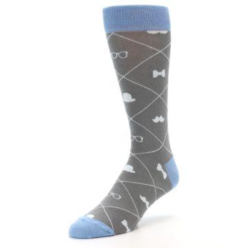 Image of Grey Blue Hipster Pattern Men's Dress Socks (side-2-front-08)