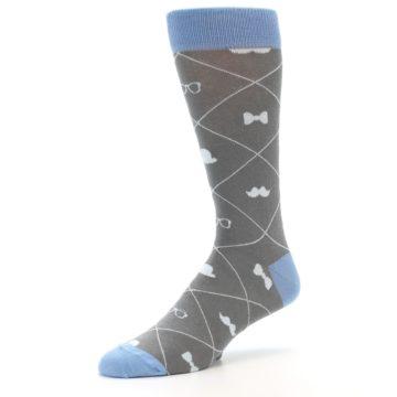 Image of Grey Blue Hipster Pattern Men's Dress Socks (side-2-09)