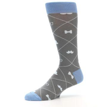 Image of Grey Blue Hipster Pattern Men's Dress Socks (side-2-10)