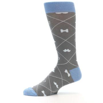 Image of Grey Blue Hipster Pattern Men's Dress Socks (side-2-11)