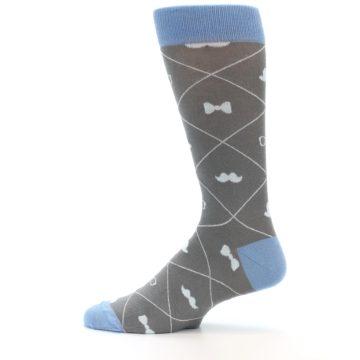 Image of Grey Blue Hipster Pattern Men's Dress Socks (side-2-12)