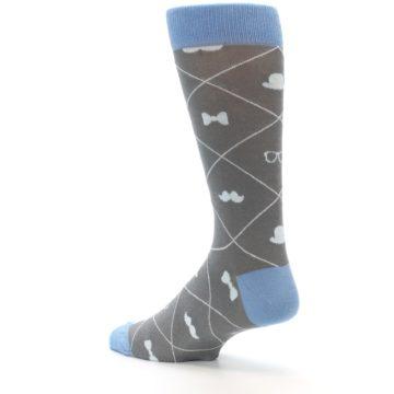 Image of Grey Blue Hipster Pattern Men's Dress Socks (side-2-back-14)