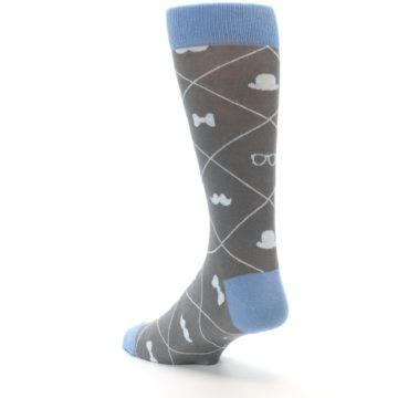 Image of Grey Blue Hipster Pattern Men's Dress Socks (side-2-back-15)