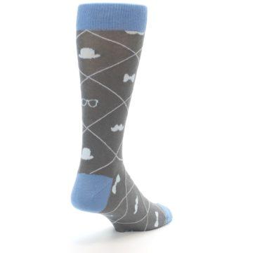 Image of Grey Blue Hipster Pattern Men's Dress Socks (side-1-back-21)