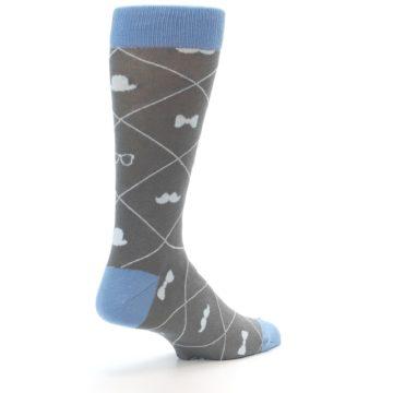 Image of Grey Blue Hipster Pattern Men's Dress Socks (side-1-back-22)