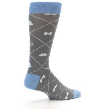 Image of Grey Blue Hipster Pattern Men's Dress Socks (side-1-23)